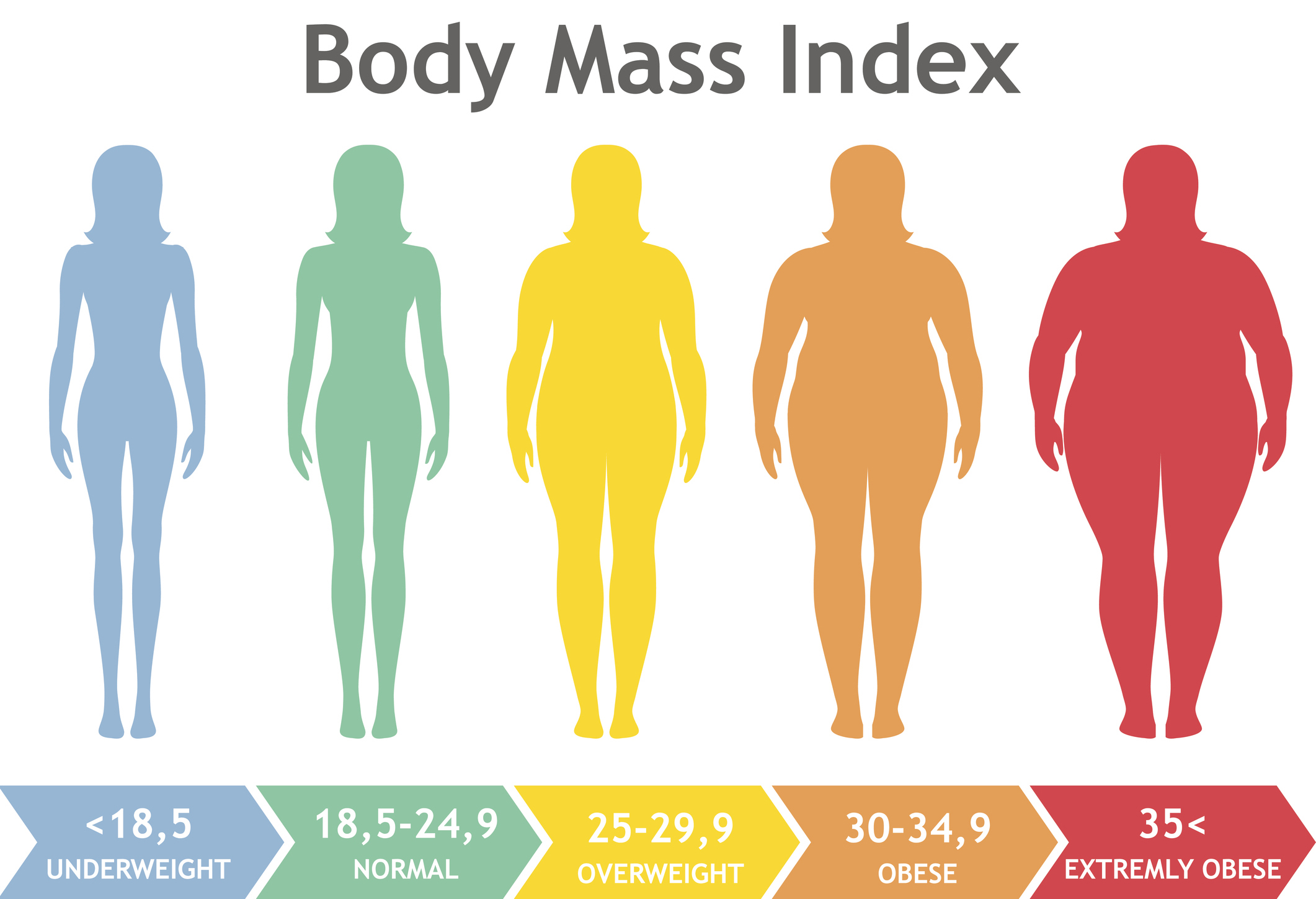 Body mass index vector illustration from underweight to extremely obese. Woman silhouettes with different obesity degrees. Female body with different weight.